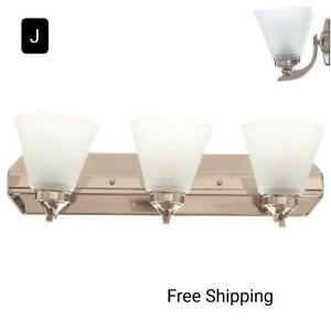 New, Hampton Bay Tavish 3 Light Vanity Light w/Frosted Shades, Brushed Nickel