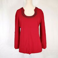 Cable and Gauge Red Beaded Knit Sweater Top Size Large Womens Scoop Neck Euc