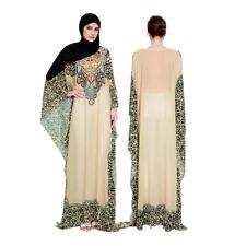 Ethnic Vintage Women Dress Muslim Floral Abaya Dubai Bat Sleeve Kaftan Maxi Robe