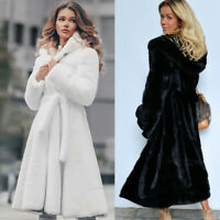 Women Hooded Jacket Winter Warm Thicken Outerwear Coat Faux Fur Long Overcoat