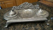 Antique Vintage Chrome Plated Double Inkwell Stand Embossed Floral Design