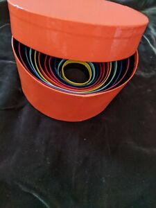 Nesting/Stacking Boxes Set Of 11 Round With Tops