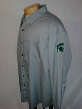 4X BIG XXXXL Men's Michigan State (On Sleeve) Polo Button Down Dress Shirt