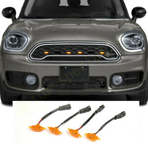 4x Front Grille LED Amber Light Raptor Style Grill For Mini Countryman 2017-2021
