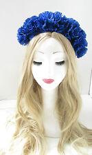 Blue Carnation Flower Hair Crown Headband Garland Festival Headpiece Large 12