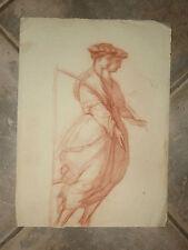 Deux jeunes filles, dessin à la sanguine, époque 19ème.