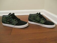 Used Worn Size 11 Nike Zoom Janoski Mid Camo Shoes Black White Green Anthracite