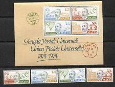 MALTA 1974, U.P.U. CENTENARY, TRANSPORTATION, VON STEPHAN, Sc 484-487,487a, MNH
