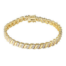 Womens Tennis Bracelet 2 Solitaire Stone 18k Gold Plate Lab Diamonds 7.5 Inches