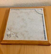 Vintage Italy square Tile Trivet Floral Ceramic & Wooden Square Hot Plate