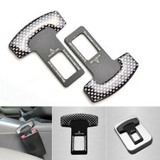 Pair Carbon Fiber Car Safety Seat Belt Buckle Alarm Stopper Clip Clamp Universal