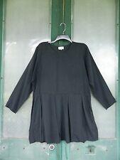FLAX Engelhart Fall 1994 Short Smock Dress -M- Dark Gray Charcoal Silk Ottoman