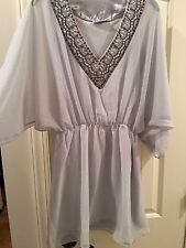 Uptown Vibe Sheer Sequined Dress Tunic Sz Med V Neck 3/4 Sleeve