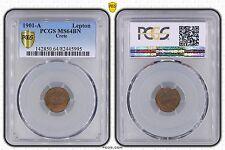 CRETE GREECE - RARE 1 LEPTON UNC COIN 1901 YEAR KM#1 PCGS GRADING MS64BN