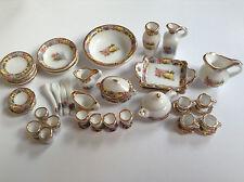 1:12 MINI Dollhouse Miniature white ceramic tea set tableware 40pcs