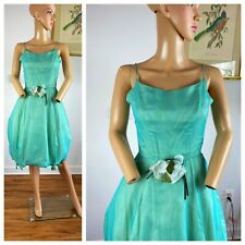 Vintage 40s 50s Cupcake Silk Ballerina Princess Tulle Bows Flowers Party Dress S