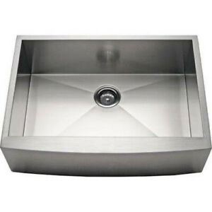 """27"""" Stainless Steel Kitchen Farm Sink Curved Front Single Bowl with Free Gift"""