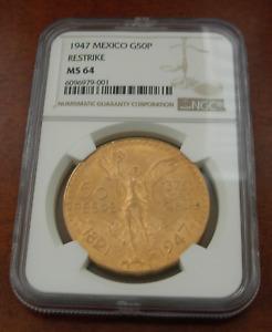 Mexico 1947 Gold 50 Pesos NGC MS64 Restrike