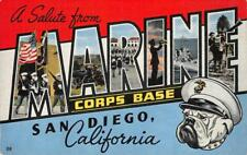 MARINE CORPS BASE San Diego, CA Large Letter Linen WWII c1940s Vintage Postcard