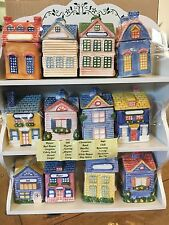 New AVON Cozy Cottage Village Shops Ceramic Spice Jars and Display Rack 1997 NIB
