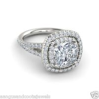 Solid 14k White Gold 2.47ct Cushion Cut Cathedral Shank Diamond Engagement Ring
