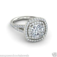 2.50 CT CUSHION CUT WITH FLAIR SHANK DIAMOND ENGAGEMENT RING IN 14K WHITE GOLD