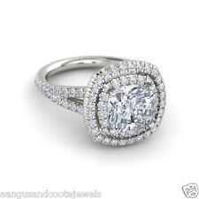 2.49ct Cushion Cut Flair Shank Forever Diamond Engagement Ring 14k White Gold