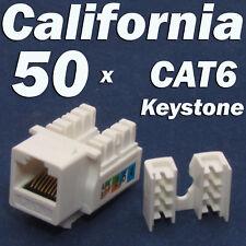 50 X Pcs lot Keystone Jack CAT6 White Network Ethernet 110 Punch Down 8P8C RJ45