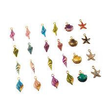 Multicolour Enamel Alloy Conch Shell Starfish Locket Charm Jewelry Finding 20pcs