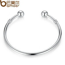 Luxury Jewelry Silver Bangle Bracelet Can Add Different type European Charm Bead