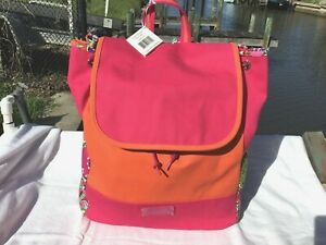 Vera Bradley XLARGE BACKPACK BAG - COLOR BLOCKED CANVAS / 2014 PINK SWIRLS - NWT