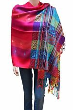 Flyingeagle Trade Women Rainbow Colorful Silky Pashmina Shawl Scarf Wrap HotPink