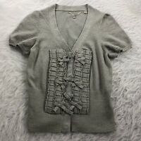 ANTHROPOLOGIE Knitted and Knotted Women's Size XS Sweater Gray Short Sleeve