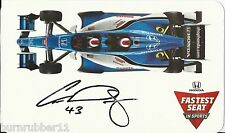 """SIGNED 2015 CONOR DALY """"HONDA FASTEST SEAT IN SPORTS"""" INDY CAR 2 SEATER POSTCARD"""