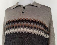 Dockers Long Sleeve Pullover golf Shirt Gray Black Sz M