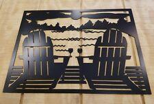 Adirondack chairs beach scene metal wall art plasma cut home decor gift idea