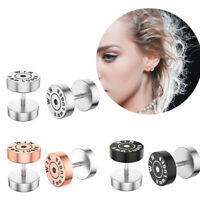 PAIR Bullet Rose Gold Silver 16g Fake Ear Plugs 8mm Surgical Steel Faux Cheater