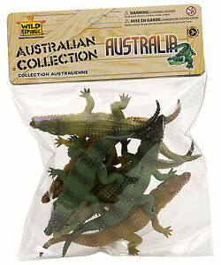 NEW Toy Crocodile Australian Animals Model Figurine - 6 Piece Polybag Collection