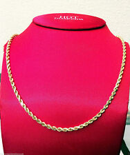 "Mens Women 14k Yellow Gold Chain Hollow Rope Necklace 4mm 18"" 18 inch Hallow"
