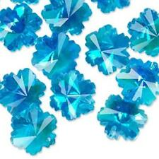 6030 Crystal Glass Snowflake Bead 14mm Blue AB PK16 *UK EBAY SHOP*
