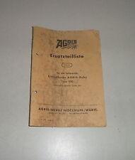 Catalogo parti ricambio/elenco AGRIA BABY tipo 1100 BICICLETTA monoruota piccone STAND 1960