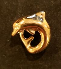 14k Yellow Gold Polished Curved Dolphin Slide, 1.8 Grams