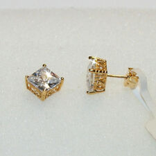 3.62ctw Crown Set White Diamond Alternatives Stud Earrings Solid 10K Yellow Gold