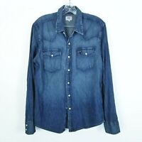 Levis Medium Western Pearl Snap Font Button Up Blue Shirt