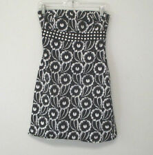 RUTH Black & White Size 4 Dress Strapless Floral and Dots Short Cotton Spandex