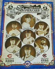 Chicago Cubs Commemorative 100 years at Wrigley Field Scorecard Carl Edward's Jr