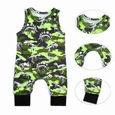 Baby Camouflage Dinosaur Bodysuit Sleeveless Romper Jumpsuit Outfit Clothes