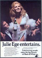 BLACK & WHITE WHISKY (Julie Ege) - Vintage Original ADVERTISEMENT. Free UK Post