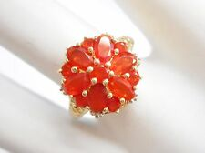 Vintage 10k Yellow Gold 1.1 CTW Mexican Fire Opal Flower Ring Sz 7 #3402