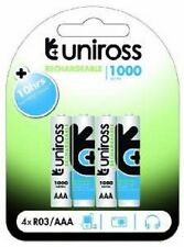 4 x UNiROSS Performance AAA LR3 R03 1000 Series NiMH Rechargeable Batteries